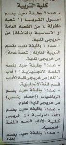 وظائف كليه التربيه والاداب الخاليه جامعه الاسكندريه